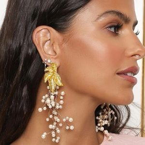 NEW Gold Leaf with Long Pearl Branches Earrings